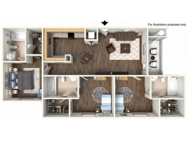 3x3U Floor Plan | University Meadows | Apartments in Mt Pleasant, MI