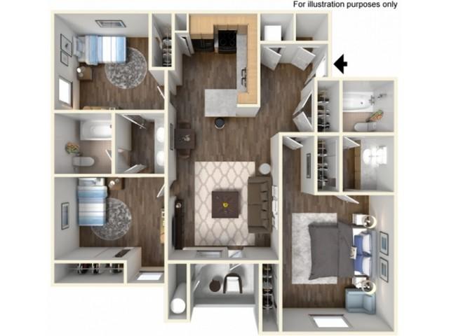 3x2US Floor Plan | University Meadows | Apartments in Mt Pleasant, MI