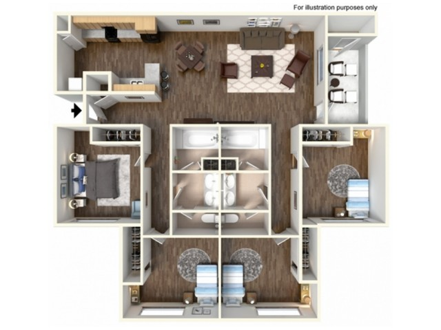 4x2F Floor Plan | University Meadows | Apartments in Mt Pleasant, MI