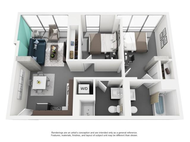 2x1 Private Bath Floor Plan | Vue 53 | Chicago IL Apartment For Rent