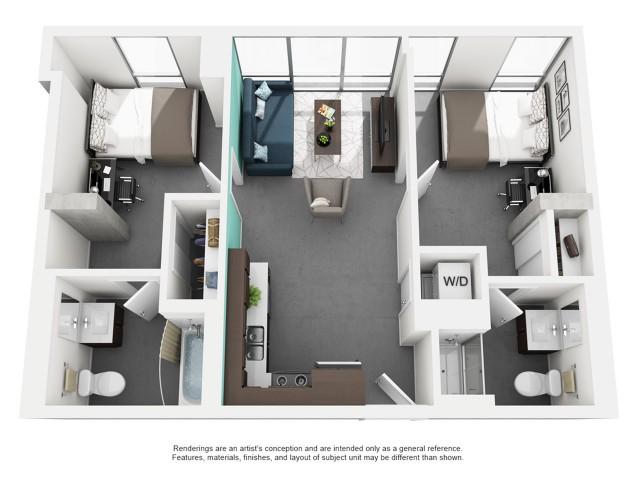 2x2 Private Bath Floor Plan | Vue 53 | Chicago IL Apartment For Rent