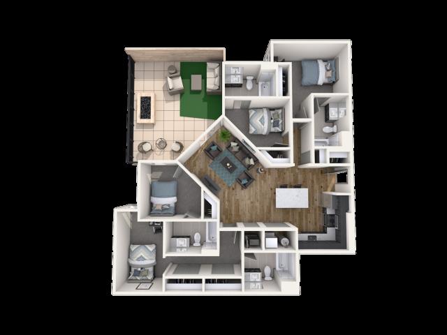 4 Bedroom with Balcony