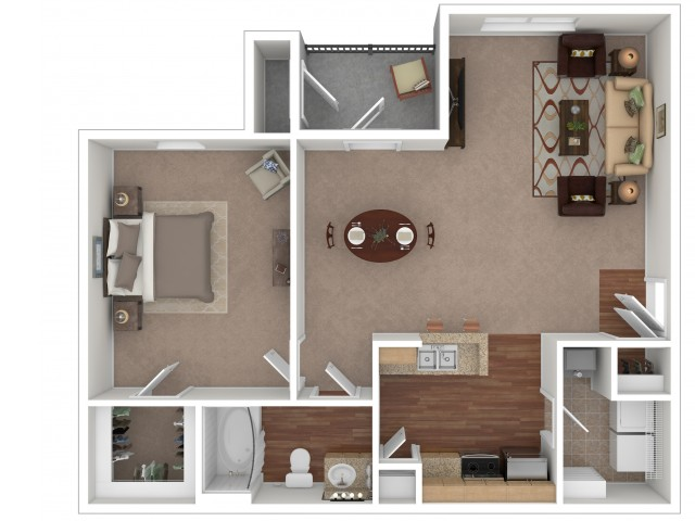1 Bedroom Floor Plan | Apartments For Rent In Gallatin, TN | Stoneridge Farms at the Hunt Club Apartments