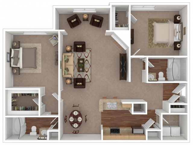 2 Bedroom Floor Plan | Apartments For Rent In Gallatin, TN | Stoneridge Farms at the Hunt Club Apartments