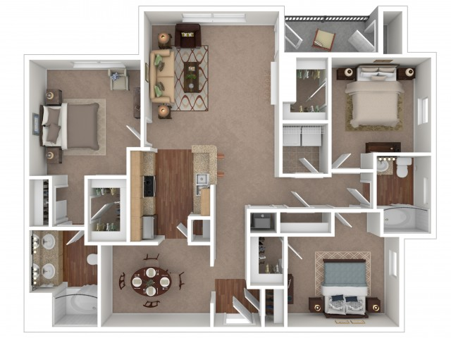 3 Bedroom Floor Plan | Apartments For Rent In Gallatin, TN | Stoneridge Farms at the Hunt Club Apartments