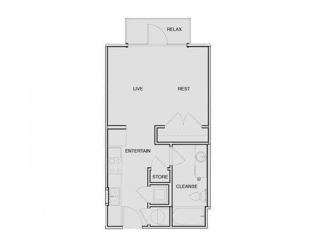 Studio Floor Plan | Apartments In South Nashville | Note 16