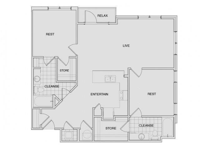 Floor Plan 7 | Two Bedroom Apartments Nashville | Note 16