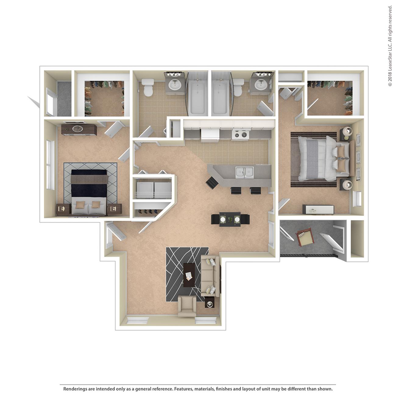2 Bdrm Floor Plan | Pet Friendly Apartments In Colorado Springs | Willows at Printers Park