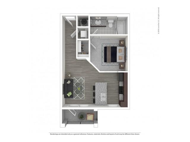 1 Bedroom Floor Plan   Apartments For Rent In Nashville Tn   Duet