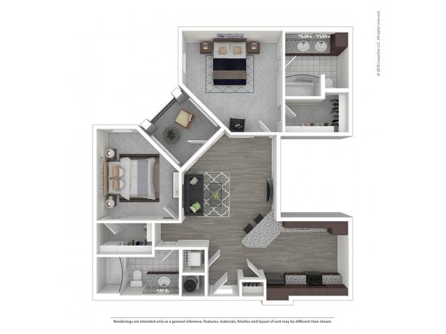 2 Bdrm Floor Plan   Apartments Near Nashville Tn   Duet
