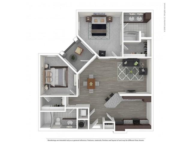 2 Bedroom Floor Plan   Nashville Apartments For Rent   Duet