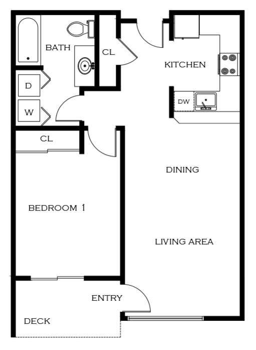1 Bdrm Floor Plan | 2 Bedroom Apartments In Portland Oregon | 5819 Glisan