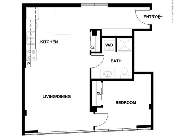 1 Bedroom Floor Plan   Apartments For Rent In Bellevue, WA   Sylva on Main Apartments