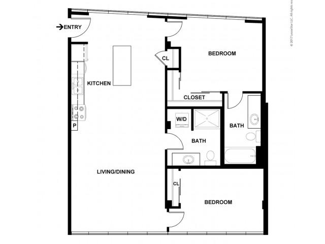 2 Bedroom Floor Plan   Apartments For Rent In Bellevue, WA   Sylva on Main Apartments