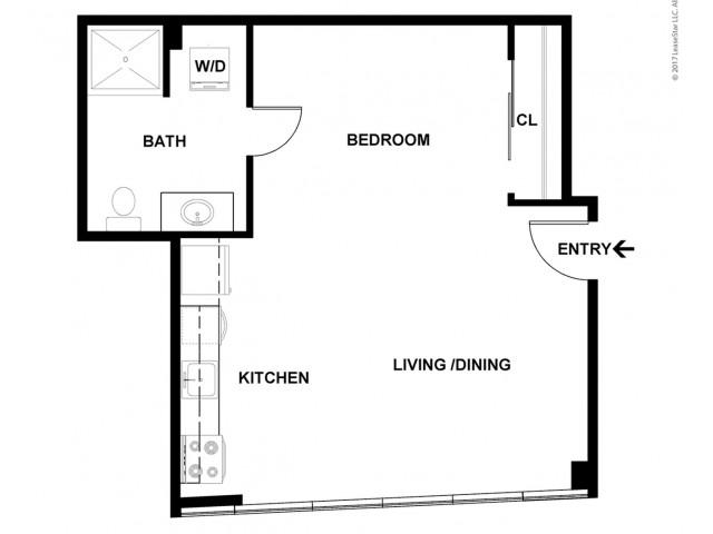 Studio Floor Plan   Apartments For Rent In Bellevue, WA   Sylva on Main Apartments