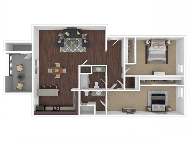 2 Bedroom Floor Plan | Apartments For Rent In Phoenix, AZ | Canyon Creek Village Apartments