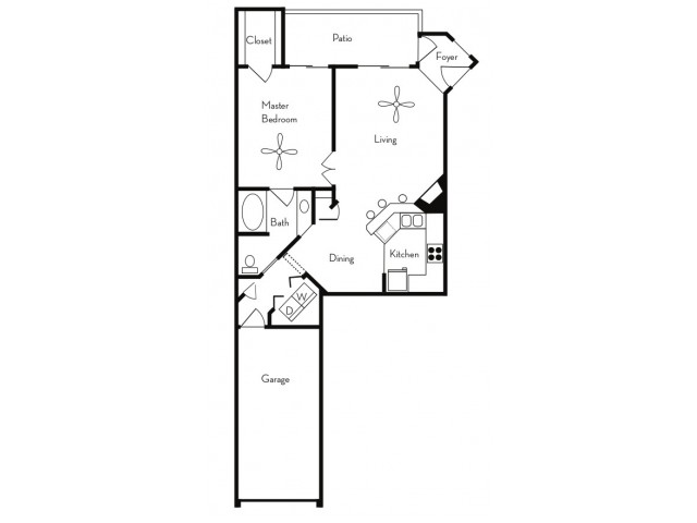 1 Bedroom Floor Plan | Apartments For Rent In Phoenix, AZ | Pavilions on Central Apartments