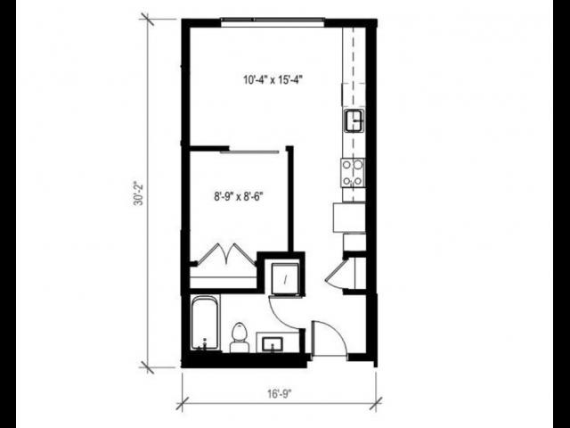 1 Bedroom Floor Plan   Augusta Apartments   Seattle Washington Apartments