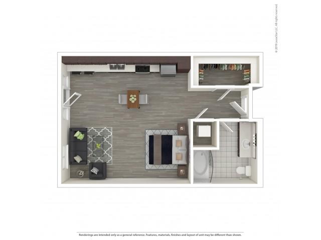 Studio Floor Plan | Apartments For Rent in Seattle, WA | Pratt Park Apartments