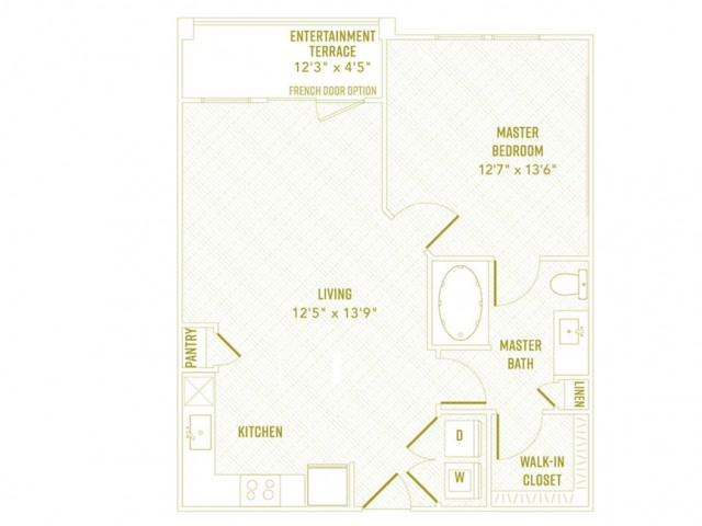 1 Bedroom Floor Plan   Apartments In Rowlett TX   The Towers at Bayside