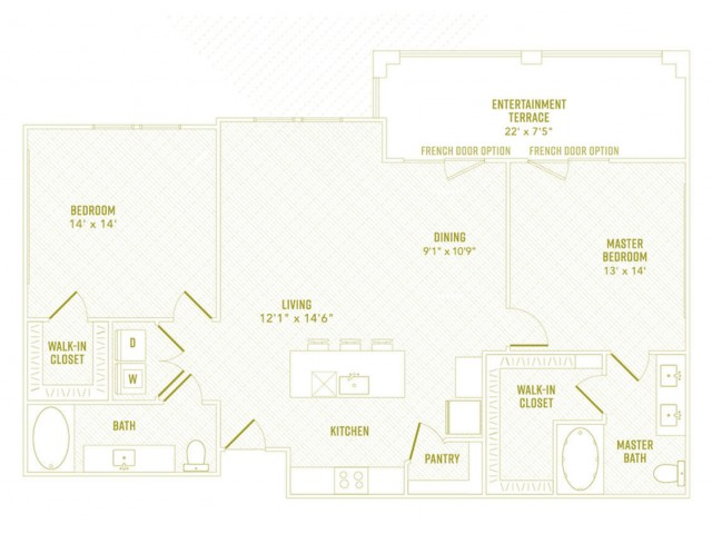 2 Bdrm Floor Plan   New Apartments Rowlett TX   The Towers at Bayside