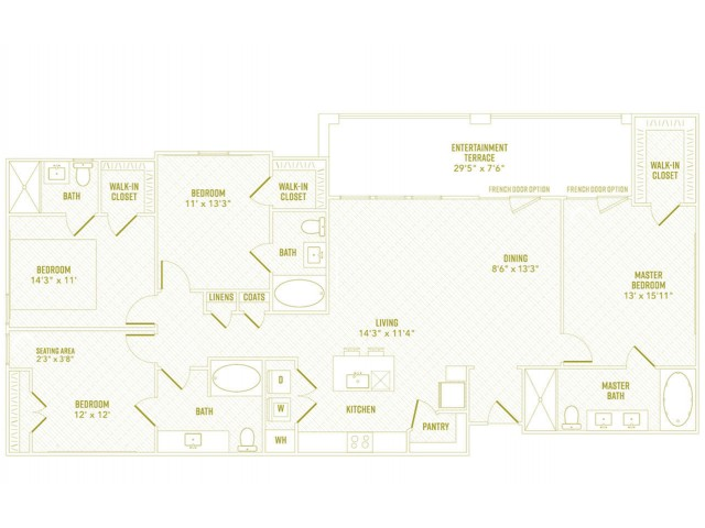 4 Bedroom Floor Plan   Apartments Rowlett Texas   The Towers at Bayside
