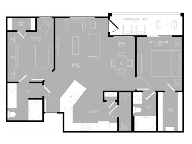 2 Bedroom Floor Plan | Apartments For Rent In Rowlett TX | The Mansions at Bayside