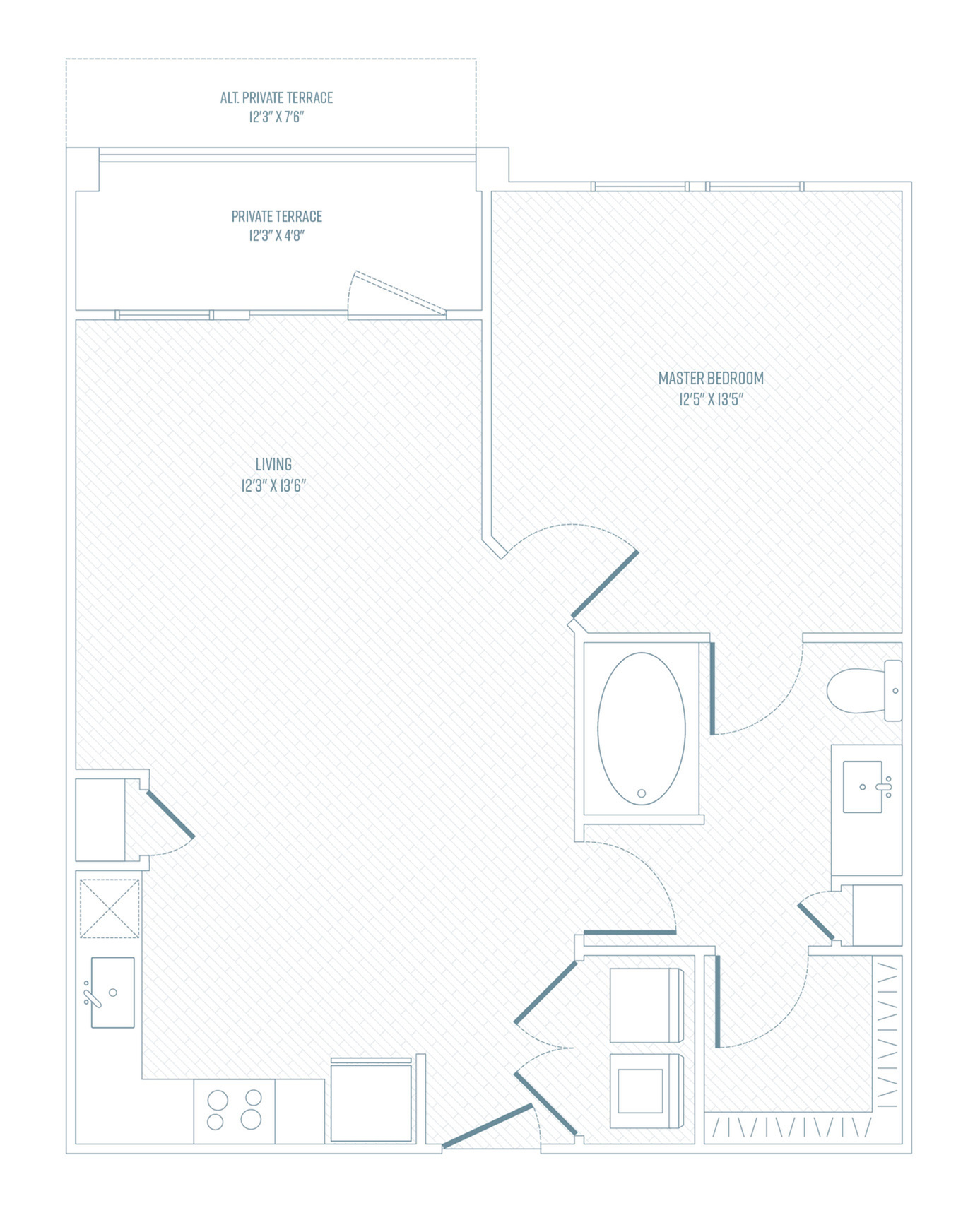 1 Bedroom Floor Plan | Apartments In Farmers Branch TX | Luxe at Mercer Crossing