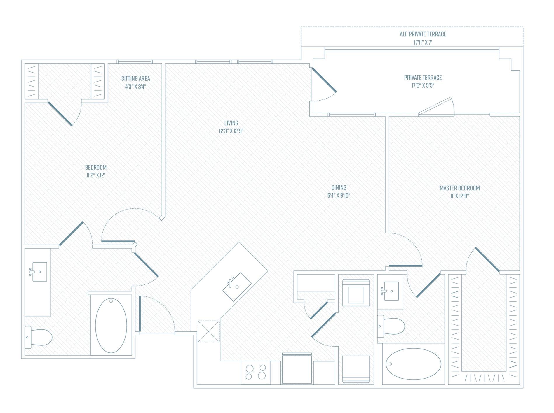 2 Bedroom Floor Plan | Apartments In Farmers Branch TX | Luxe at Mercer Crossing