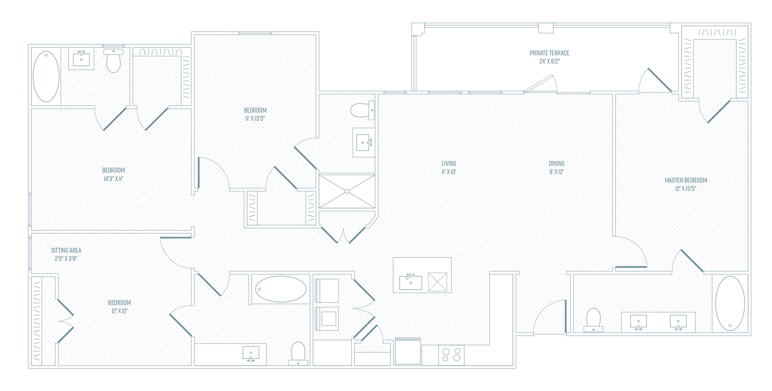 4 Bedroom Floor Plan | Apartments In Farmers Branch TX | Luxe at Mercer Crossing