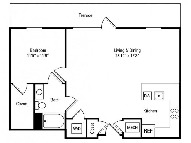 1 Bedroom - 1 Bathroom