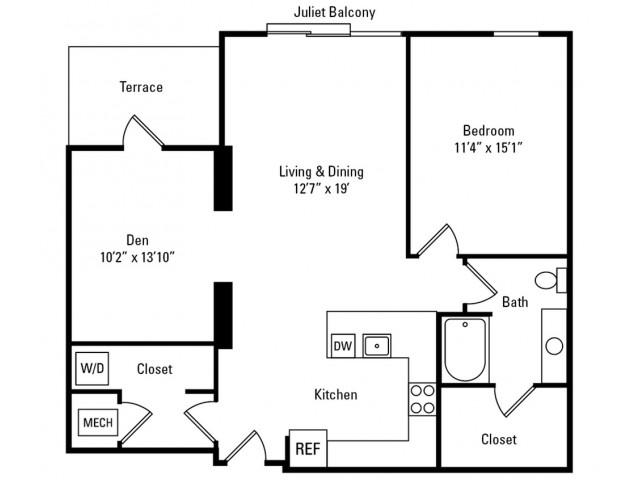1 Bedroom - 1 Bathroom with Den