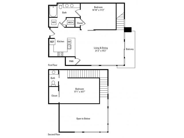 1 Bedroom - 1.5 Bathroom with Den