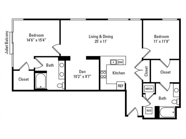 2 Bedroom - 2 Bathroom with Den