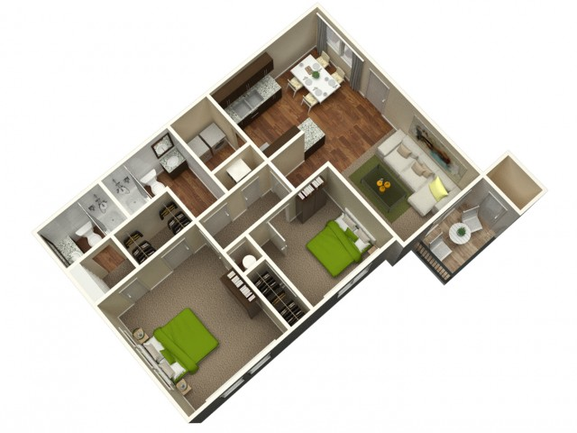 2 Bedroom 2 Bath 1192