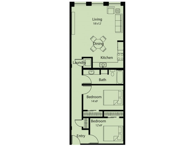 2 bed/ 1 bath floor plan