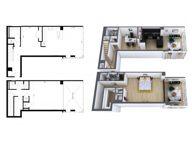 1 Bedroom, 1.5 Bathroom Townhouse