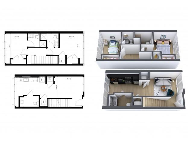 2 Bedroom, 2.5 Bathroom Townhouse