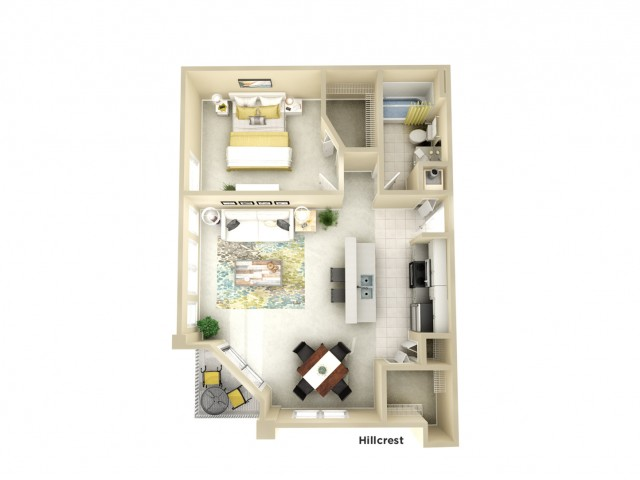 A1 | 1 bed 1 bath | from 784 square feet