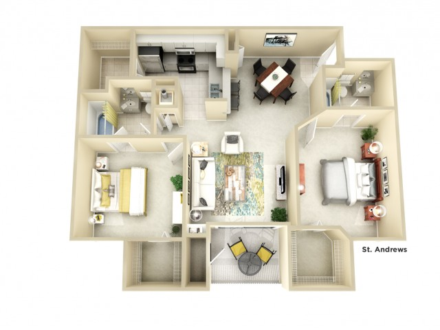 B2 | 2 bed 2 bath | from 1128 square feet