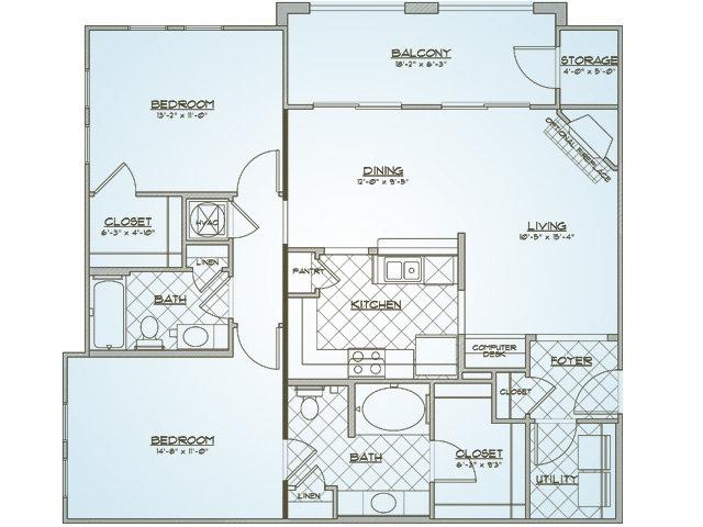Calhoun | 2 bed 2 bath | from 1129 square feet