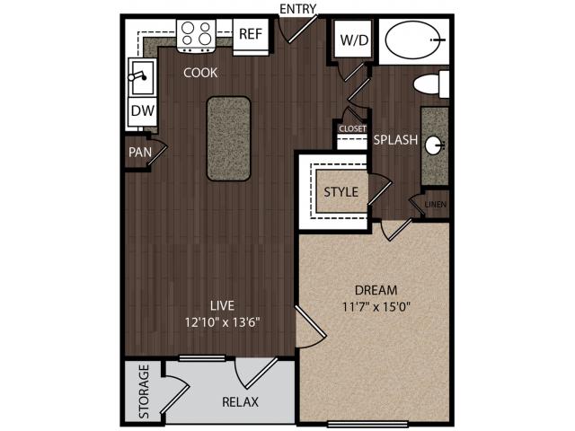A1a | 1 bed 1 bath | from 677 square feet