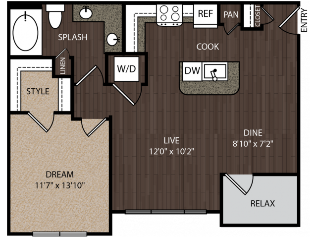 A3 | 1 bed 1 bath | from 759 square feet