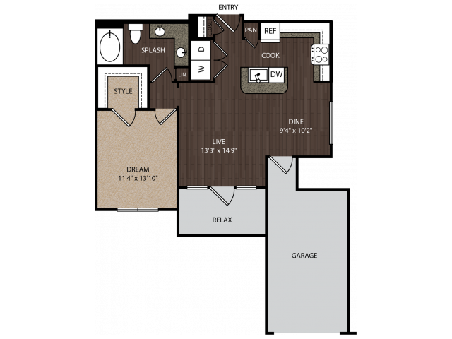 A3a1 | 1 bed 1 bath | from 778 square feet