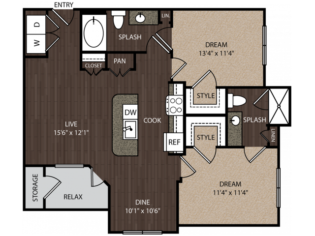 C1 | 2 bed 2 bath | from 1041 square feet