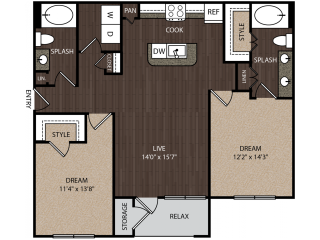 C2 | 2 bed 2 bath | from 1126 square feet