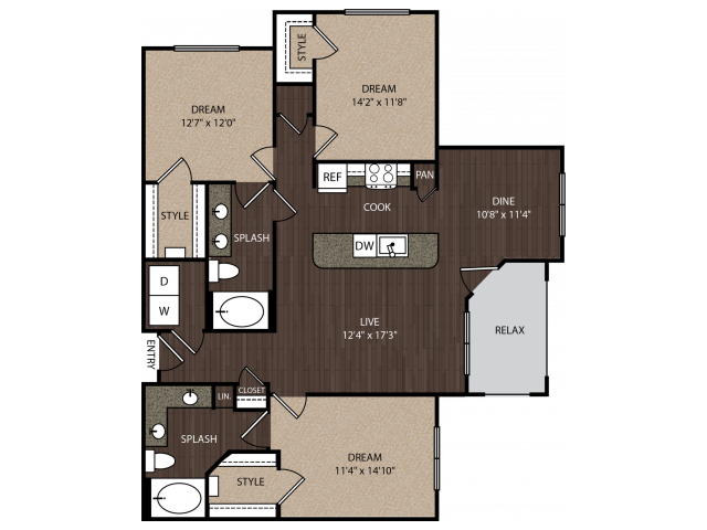 D1 | 3 bed 2 bath | from 1397 square feet