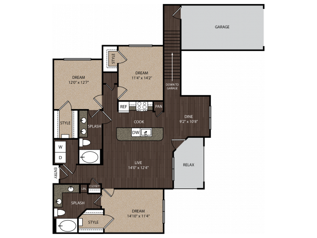 D1a2 | 3 bed 2 bath | from 1502 square feet