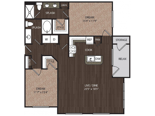 C3a3 | 2 bed 2 bath | from 1249 square feet