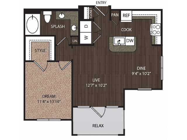 A3a3 | 1 bed 1 bath | from 809 square feet